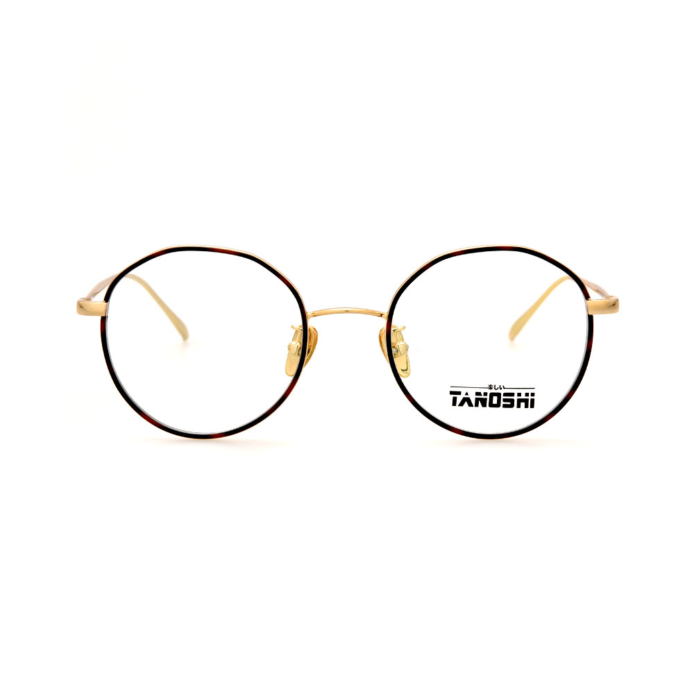 TANOSHI DE16221 C03 Round Black/Gold Eyeglasses