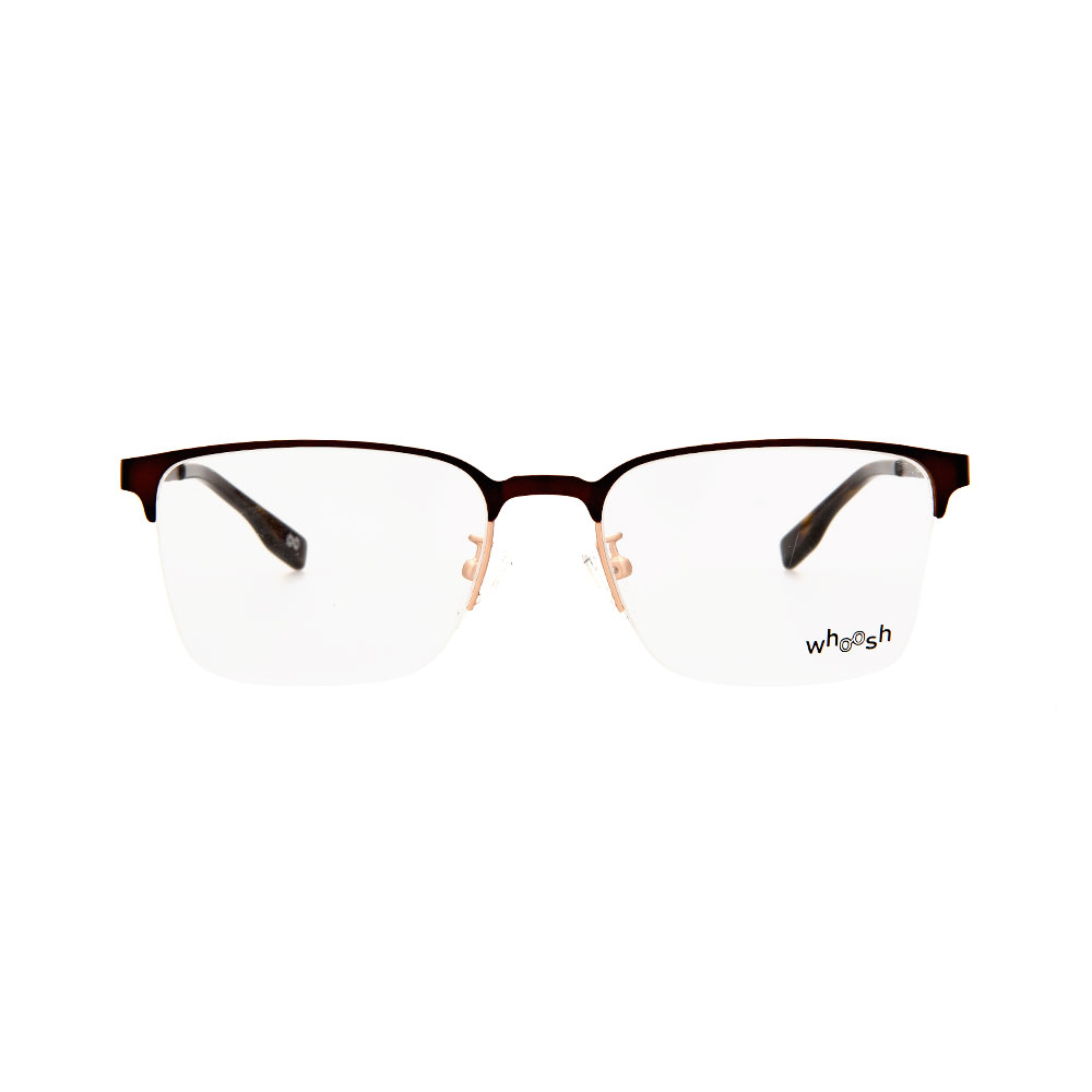 WHOOSH Urban Series Brown Rectangle HE2288 C2 Half Rim Eyeglasses